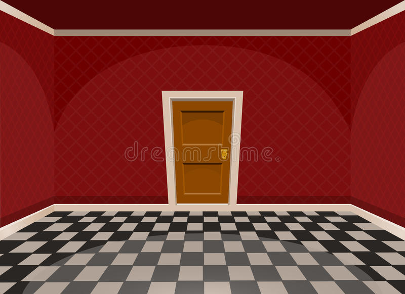 Комната шаржа пустая с дверью в красном стиле иллюстрация вектора