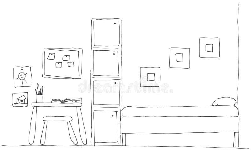 Комната ` s детей В угле комнаты кровать, рядом с шкафом, таблица, стул иллюстрация штока