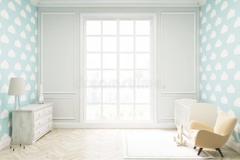 Комната ` s ребенка с обоями облака на голубой стене иллюстрация вектора