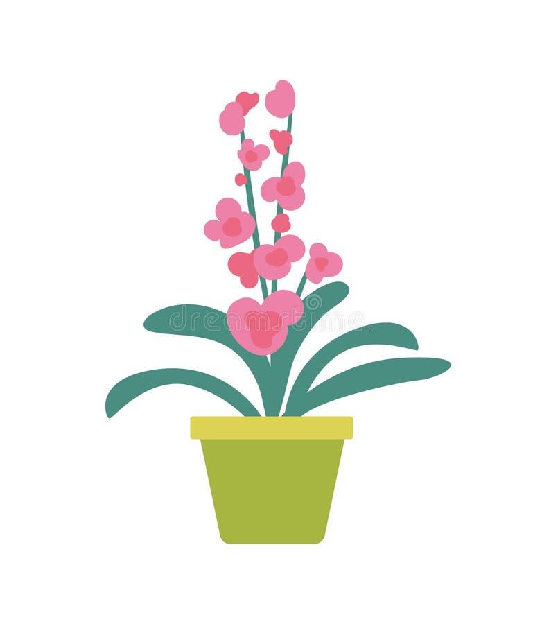 Комнатное растение в изолированном цветочным горшком знамени мультфильма иллюстрация штока