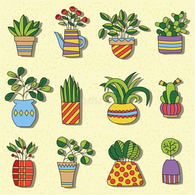 Комнатное растение doodles милый красочный комплект вектора иллюстрация штока