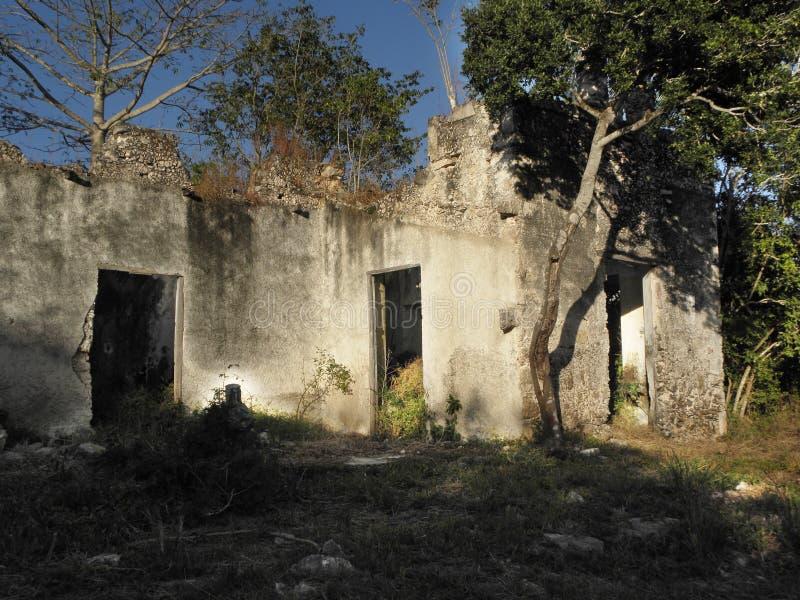 Комнаты старые руины крупного поместья в Юкатане, Мексике стоковые фотографии rf