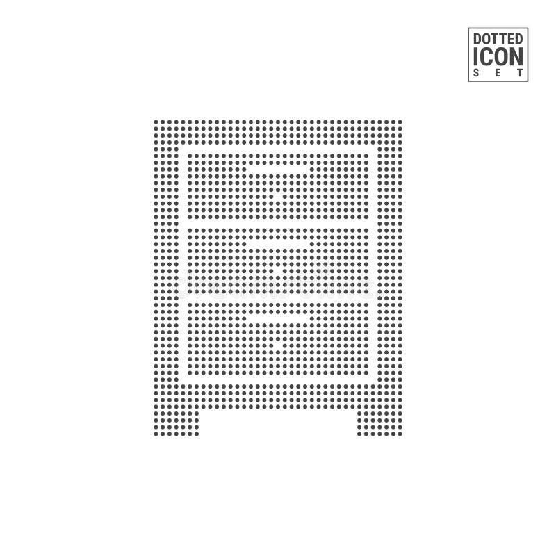 Комод значка точечного растра ящиков Значок Commode поставленный точки мебелью изолированный на белой предпосылке Значок или шабл иллюстрация штока