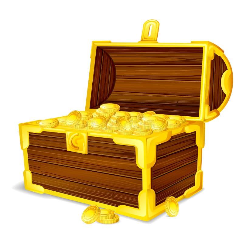 Комод сокровища вполне золотой монетки иллюстрация штока