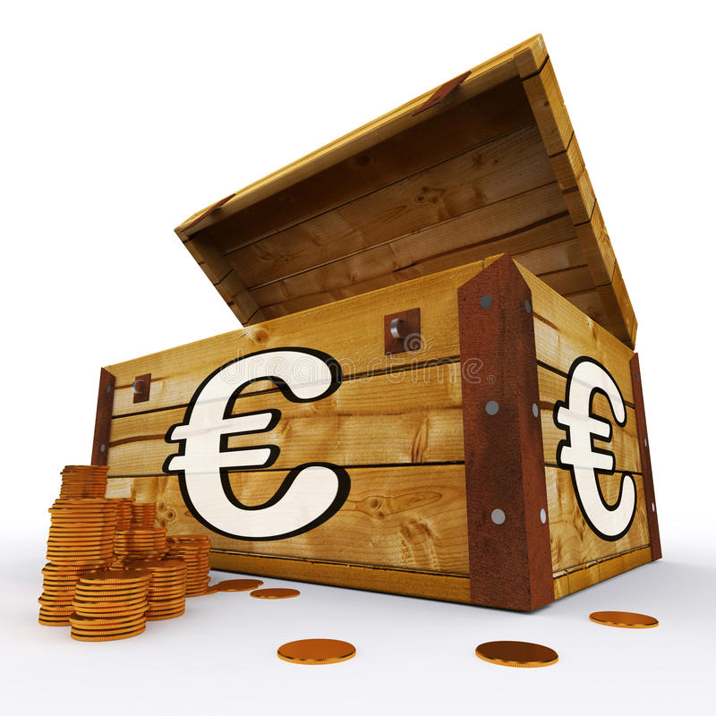 Комод евро процветания европейца выставок монеток иллюстрация штока