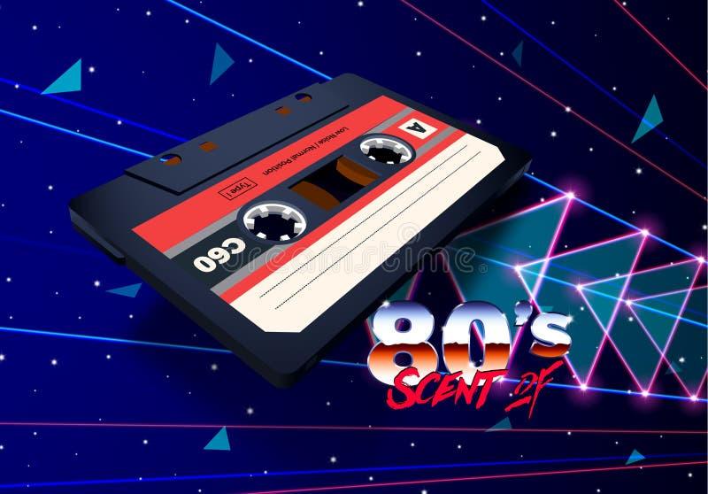 Компактная кассета в космосе с лучами лазера и неоновыми треугольниками для 80s ввела новый ретро плакат в моду партии музыки вол бесплатная иллюстрация