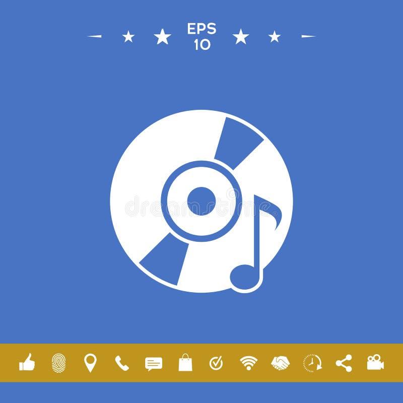 КОМПАКТНЫЙ ДИСК, DVD с символом музыки иллюстрация штока