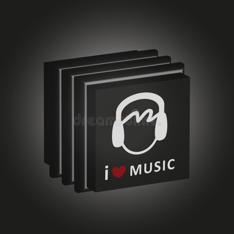 Компактный диск музыки кладет 'я любит вектор в коробку музыку' стоковые фото