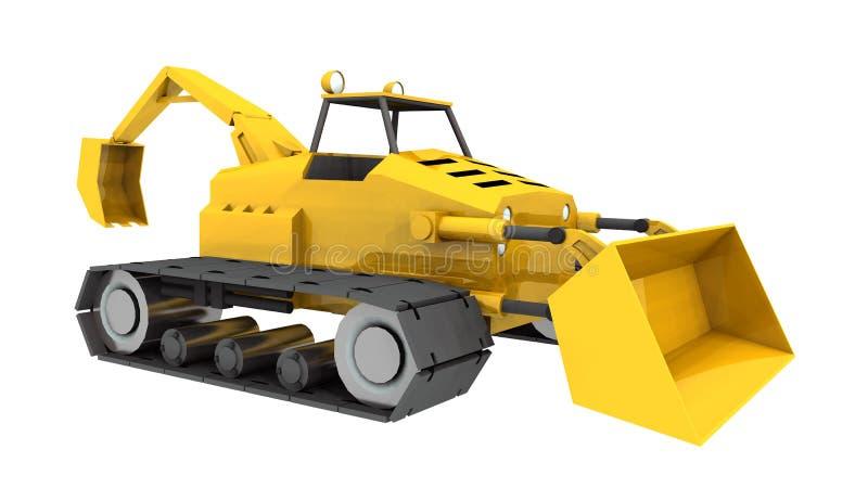 Компактный трактор, передний затяжелитель и backhoe иллюстрация вектора