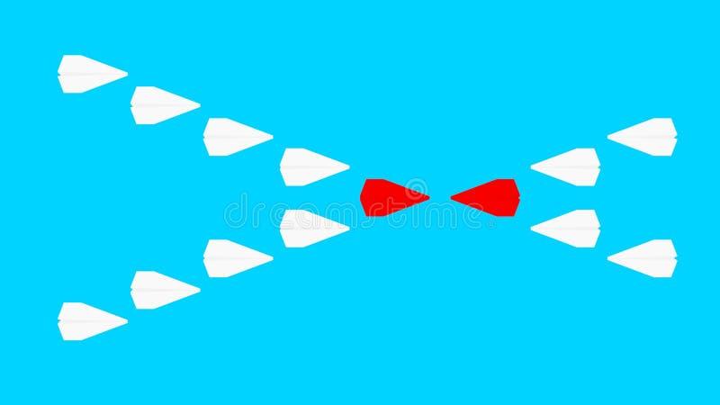 2 компании состязаются бумажные плоскости растр иллюстрация вектора