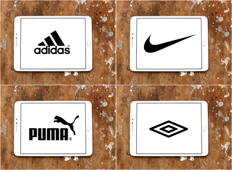 Компании adidas Sportswear, Найк, пума, umbro иллюстрация штока