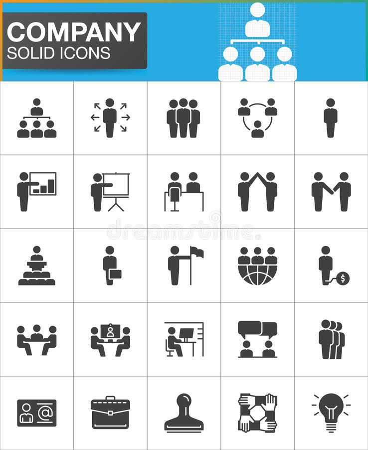 Компания, бизнесмены установленных значков вектора бесплатная иллюстрация