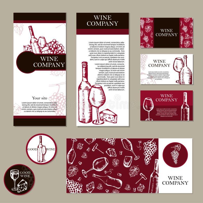Компания вина Тема ресторана вектор шаблона корпоративной тождественности дела произведений искысства Tem документа иллюстрация вектора