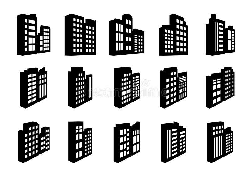 Компания значков перспективы установила на белую предпосылку, черную линию построения собрание вектора бесплатная иллюстрация