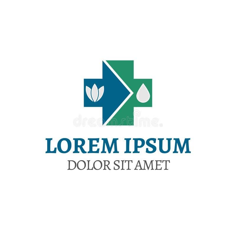 Компания логотипа иллюстрации вектора с символом плюс вода и лист стрелки иллюстрация вектора