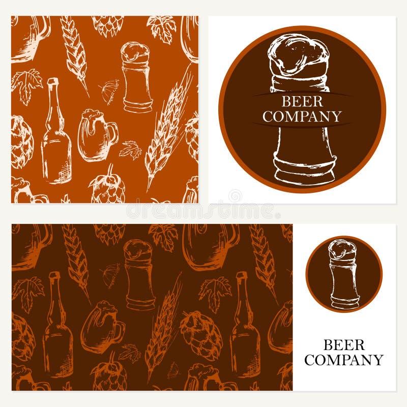 Компания пива Ретро карточка, конверт Тема ресторана Дело c иллюстрация вектора