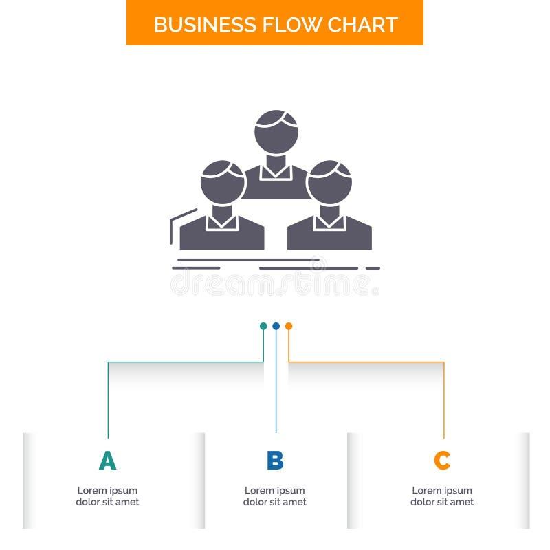 Компания, работник, группа, люди, дизайн графика течения дела команды с 3 шагами r иллюстрация штока
