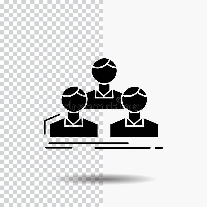 Компания, работник, группа, люди, значок глифа команды на прозрачной предпосылке r иллюстрация вектора