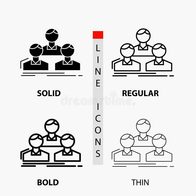 Компания, работник, группа, люди, значок команды в тонких, регулярных, смелых линии и стиле глифа r бесплатная иллюстрация