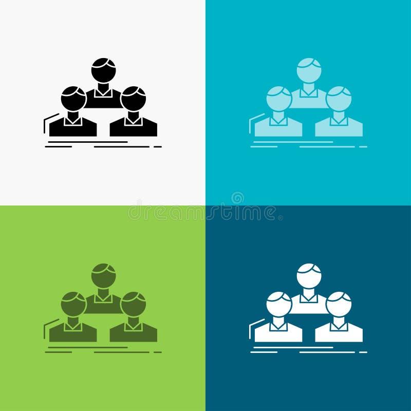 Компания, работник, группа, люди, значок команды над различной предпосылкой r r иллюстрация вектора