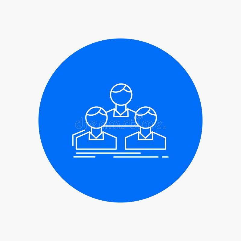 Компания, работник, группа, люди, линия значок команды белая в предпосылке круга r бесплатная иллюстрация
