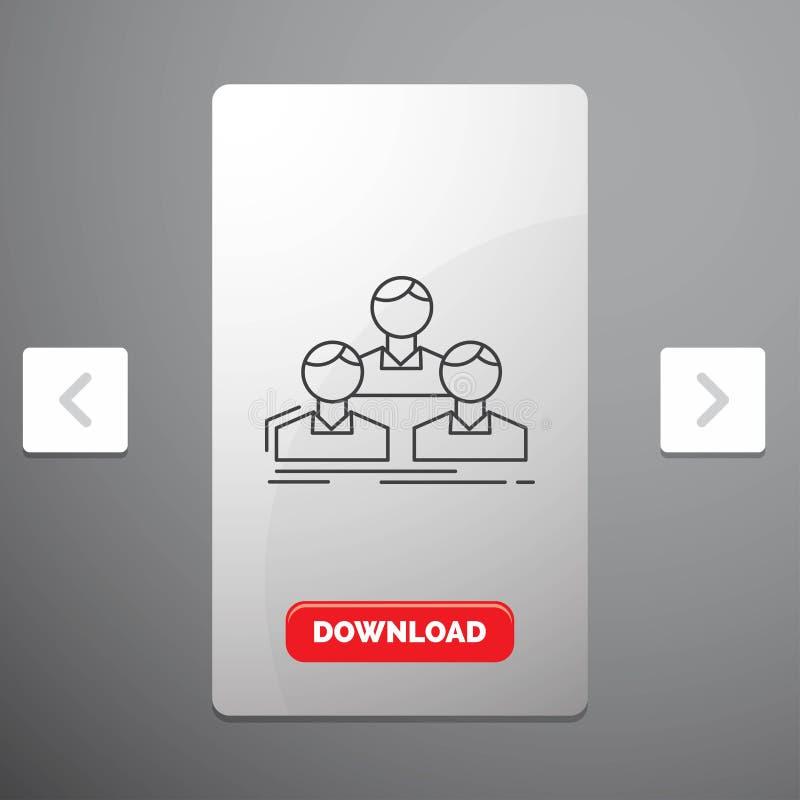 Компания, работник, группа, люди, линия значок команды в дизайне слайдера пагинаций Carousal & красная кнопка загрузки иллюстрация вектора