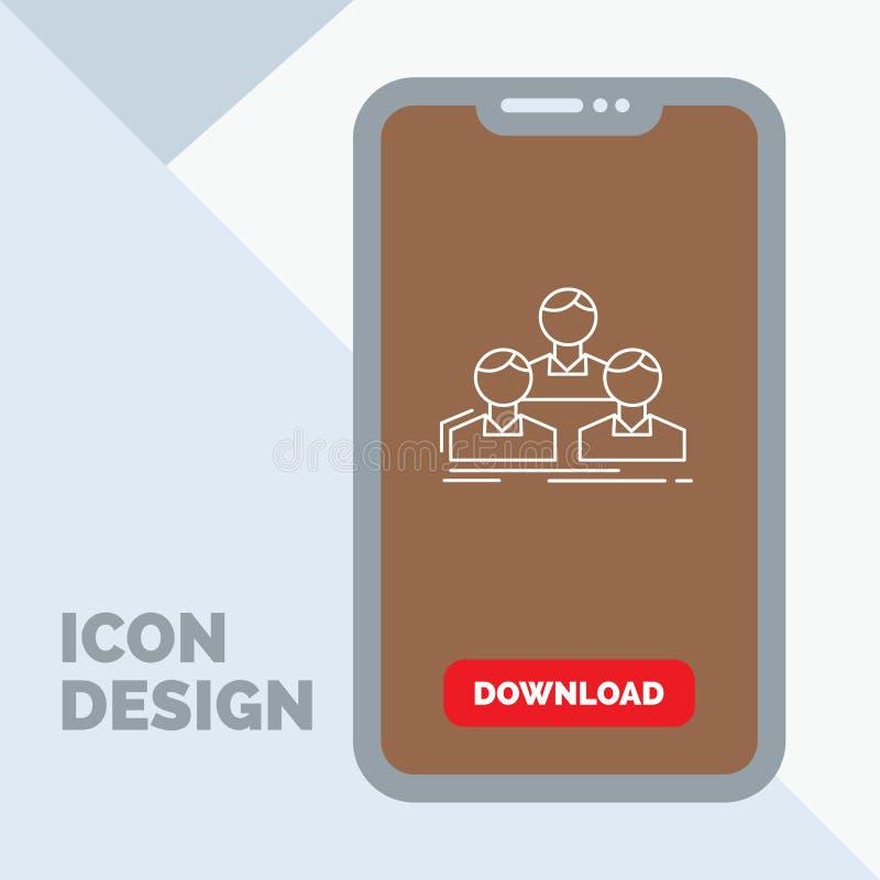 Компания, работник, группа, люди, линия значок команды в черни для страницы загрузки бесплатная иллюстрация
