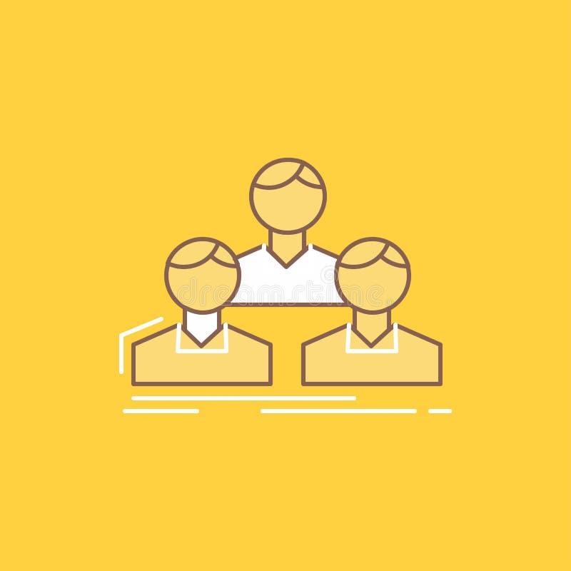 Компания, работник, группа, люди, линия команды плоская заполнила значок r иллюстрация вектора