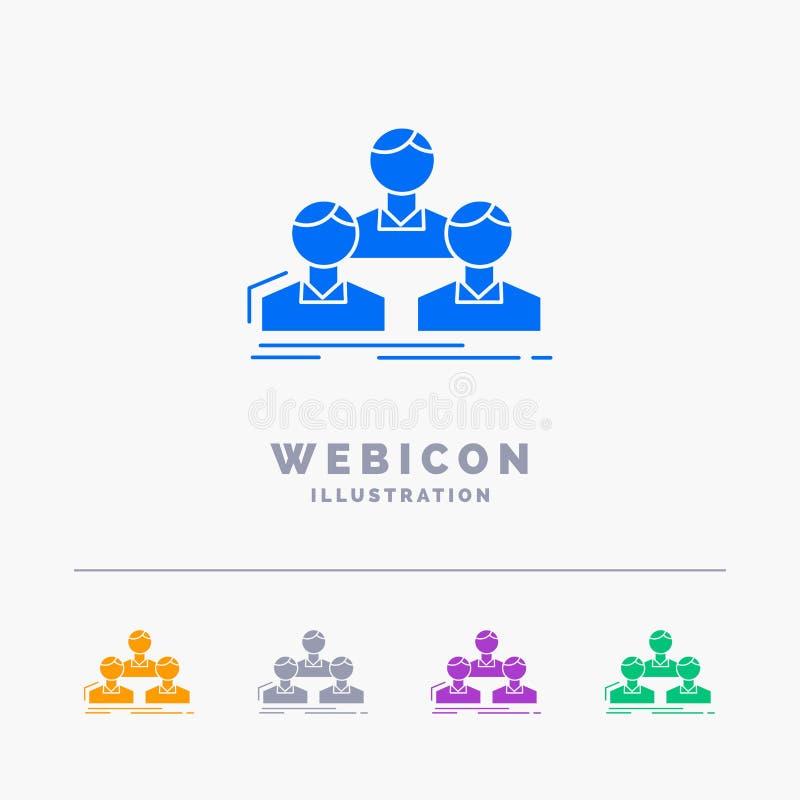 Компания, работник, группа, люди, шаблон значка сети глифа цвета команды 5 изолированный на белизне r бесплатная иллюстрация