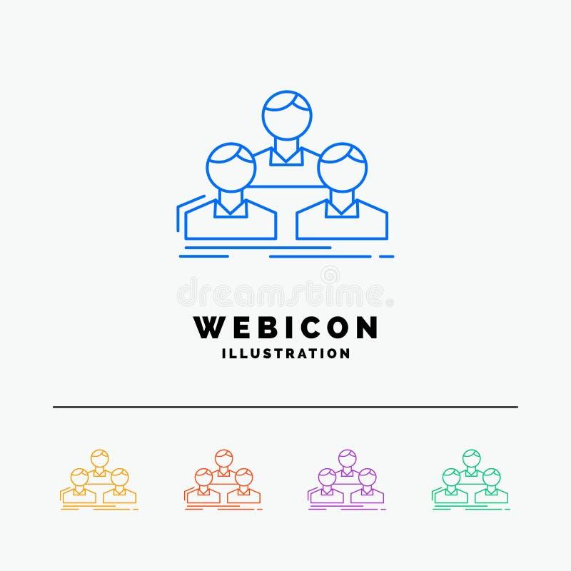 Компания, работник, группа, люди, шаблон значка сети цветного барьера команды 5 изолированный на белизне r иллюстрация вектора
