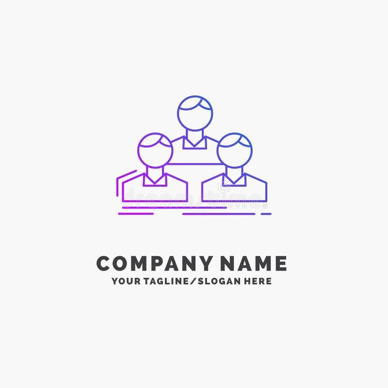 Компания, работник, группа, люди, шаблон логотипа дела команды пурпурный r иллюстрация штока