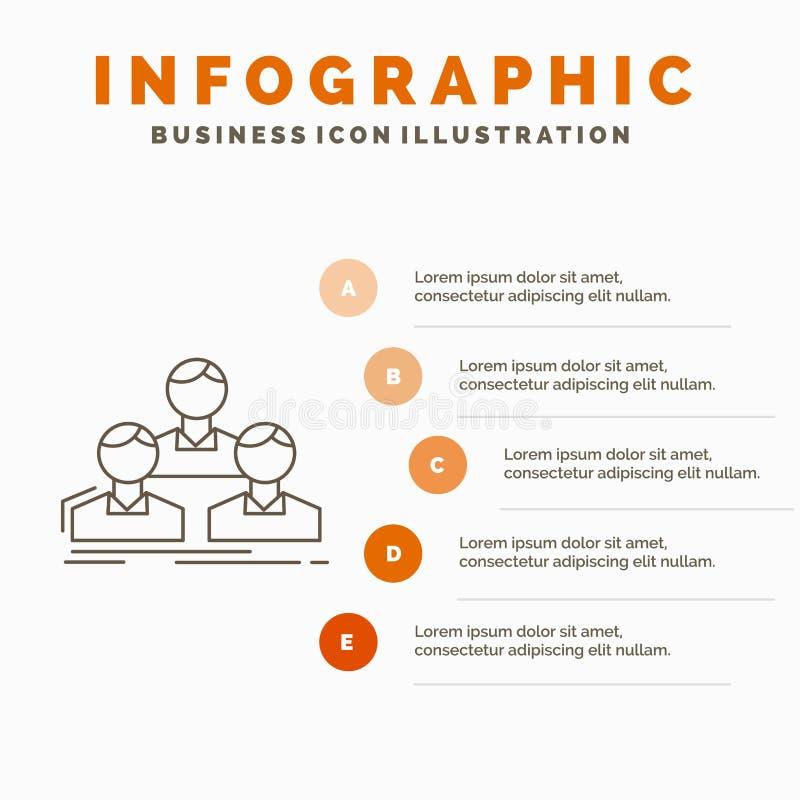 Компания, работник, группа, люди, шаблон Infographics команды для вебсайта и представление r иллюстрация вектора