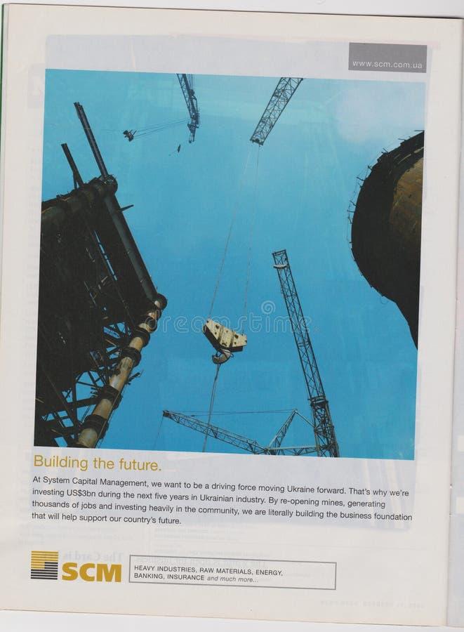 Компания рекламы плаката SCM в журнале от 2005, строящ будущий лозунг стоковое изображение