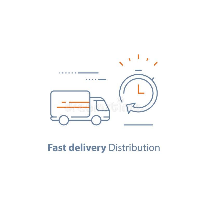 Компания снабжения, период времени ожидания, быстрые обслуживания поставки, задержка заказа, тележка движения, доставка заказа ср бесплатная иллюстрация