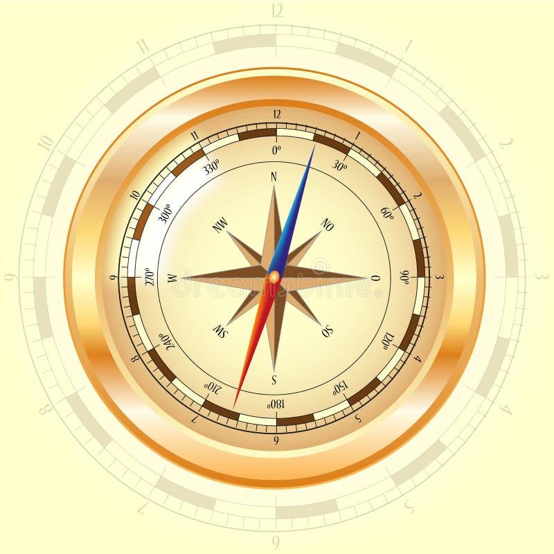 компас золотистый поднял иллюстрация вектора