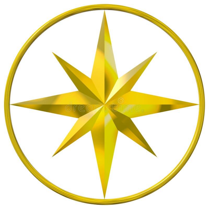 компас золотистый иллюстрация штока