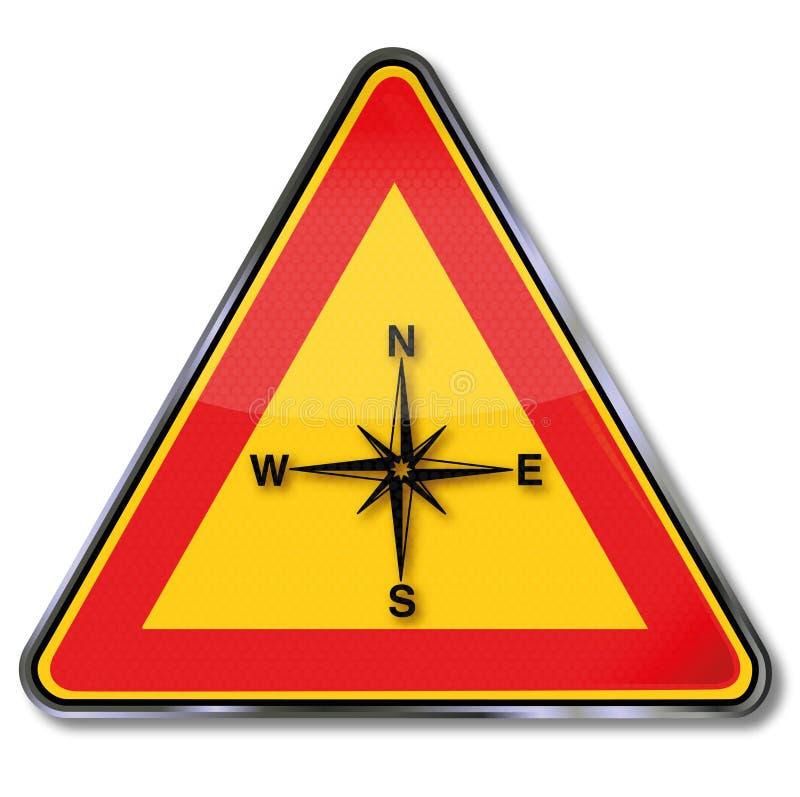 Компас, лимб картушки компаса и ориентация иллюстрация штока