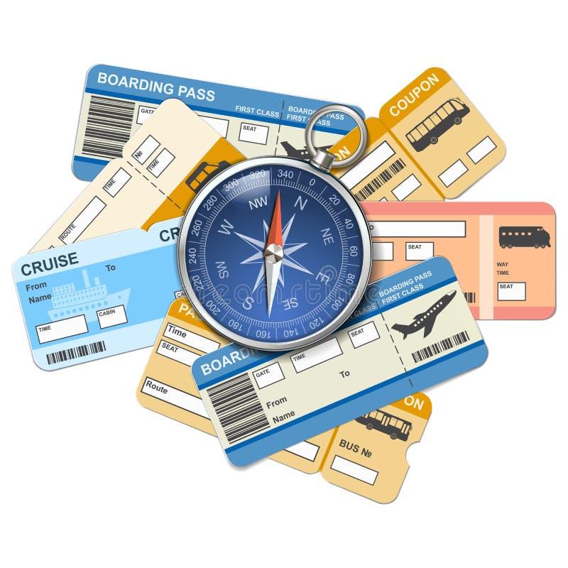 Компас и билеты вектора иллюстрация штока