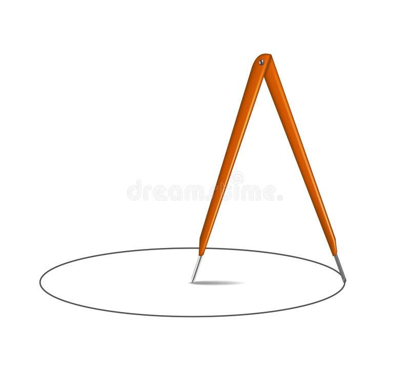 Компас и круг чертежа бесплатная иллюстрация