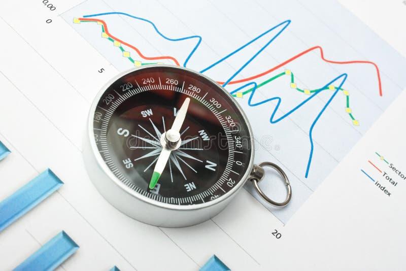 компас и обработка документов стоковое изображение