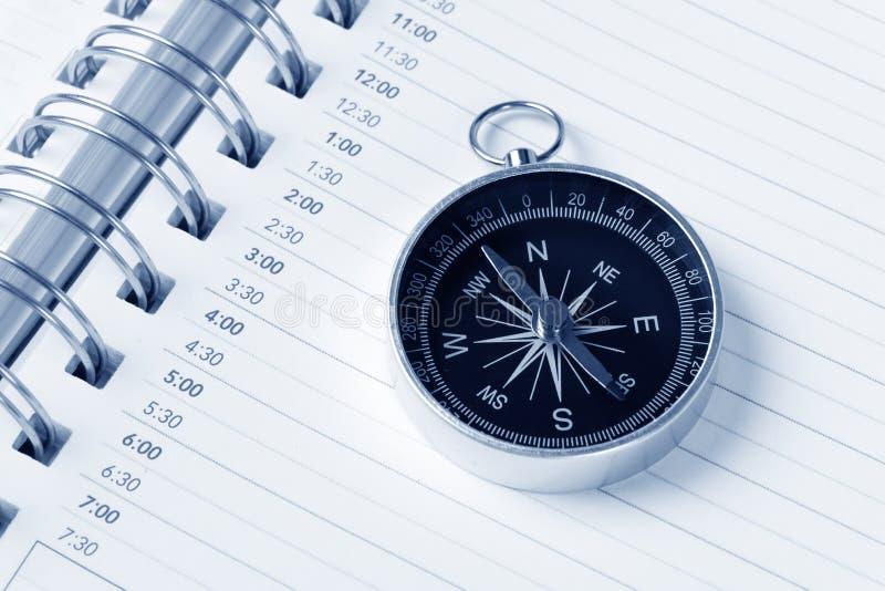 компас календара повестки дня стоковое изображение rf