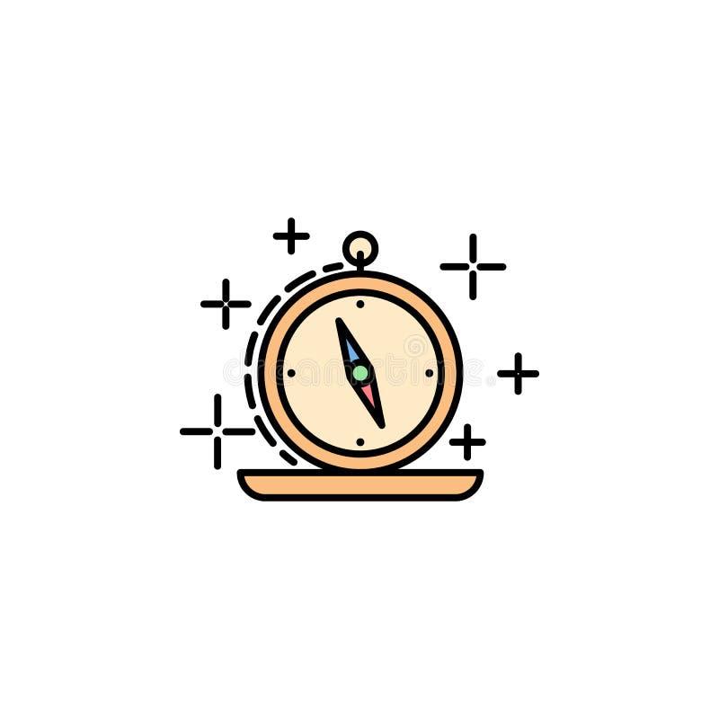 компас, карты, ориентация, значок курсора Элемент значка цвета истории для мобильных приложений концепции и сети Компас цвета, ка бесплатная иллюстрация