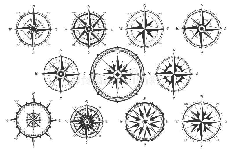 Ветер поднял Компас направлений карты винтажный Старые морские изолированные значки вектора измерения ветра иллюстрация вектора