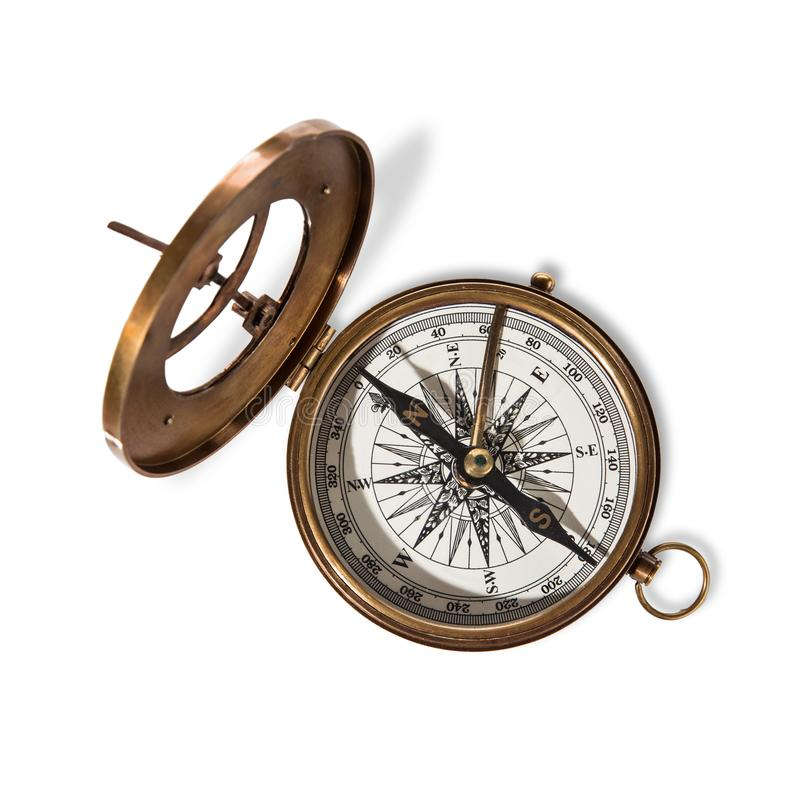 Компас Vitage латунный с солнечными часами стоковое изображение