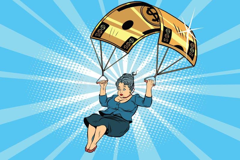 Компенсация золотого парашюта женщины финансовая в деле иллюстрация штока