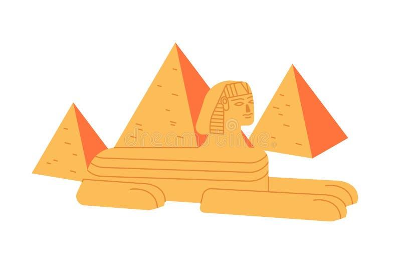 Комплекс большие сфинкс и пирамида Гизы изолированный на белой предпосылке Колоссальная статуя легендарной твари от старого иллюстрация штока