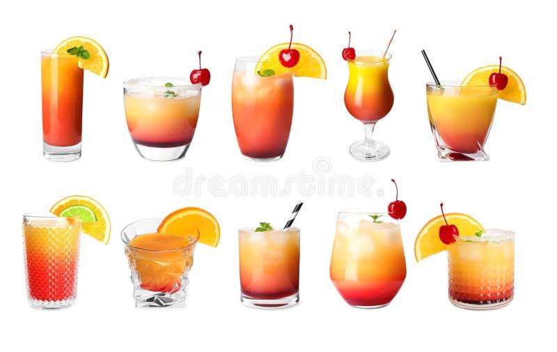 Комплекс коктейлей Tequila Sunrise на заднем плане стоковые фотографии rf