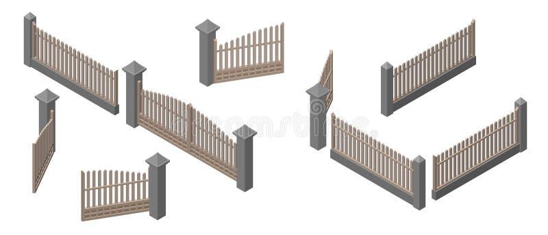 Комплекс ограждений и ворот Изолировано на белом фоне 3d-векторная иллюстрация иллюстрация штока