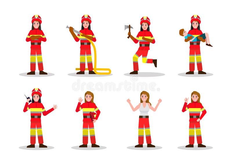 Комплекты Firefighting Дизайн характера женщины огня в много представление иллюстрация штока