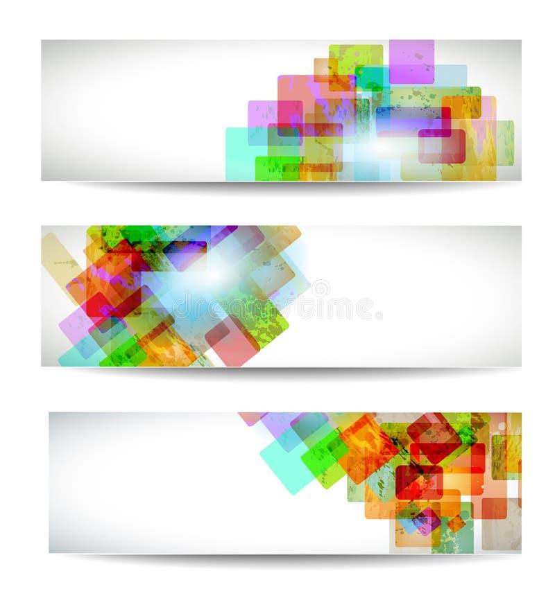 комплект абстрактного коллектора знамени самомоднейший иллюстрация вектора